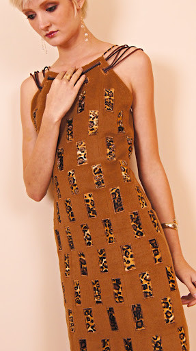 SUMSARA - Brown Wool Dress with Matching Coat - chocolate leather trim