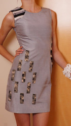Sumsara - Silk Grey 60's Style Cocktail with Silver & Black Sparkle embellishment