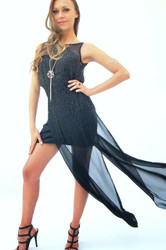 Heike Jarick Black Sequinned Gown with Chiffon Train