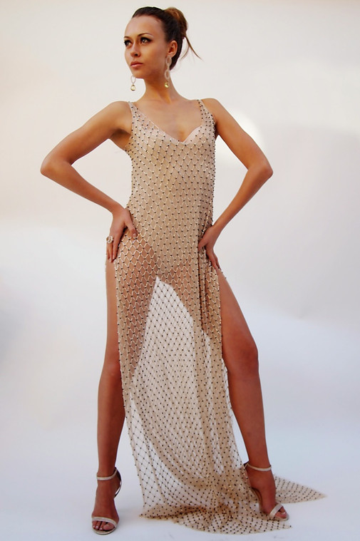 Alex Vinash - Transparent Beaded Gown with side slit