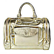 "Christina Castillo - ""The Debutante"" Leather Travel Bag. You will turn heads with this Metallic Gold Full Grain Italian Leather Travel Bag. This product is proudly handcrafted in the U.S.A. with Italian leather and shiny metal hardware Logo signature to give the Debutante its undeniably luxurious look. Made in the USA*"