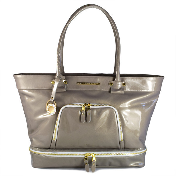 """Christina Castillo - The Joshua Street Tote.*Made in the USA The Joshua Street Tote is made from  beautiful patent Italian Saffiano leather in Pearlized Taupe that will keep its extraordinary shine and color for years to come. Lined with luxurious taupe bengaline and adorned with shiny gold hardware.  Dimensions: 12.5""""H x 19""""L x 5""""D 