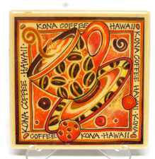 Hawaiian Art Tile Kona Coffee Time