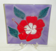 Lavendar Glass plate with Red Hibiscus