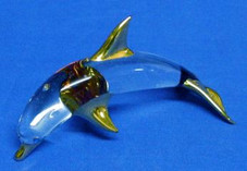 Small Glass Hawaiian Dolphin with gold trim