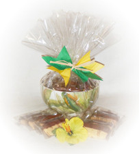 Ceramic hand painted Ti leaf Bowl w/ Chocolate dipped Macadamia nut shortbread Cookies