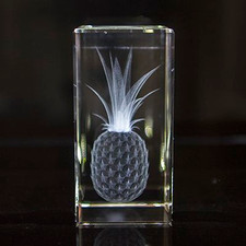 Pineapple - 3d CRYSTAL BLOCK- 4 inch