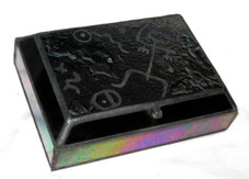 FIRED GLASS RAKU BOX - petroglyph man