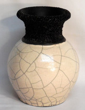 Lava Neck Raku Vase w/ White Crackle