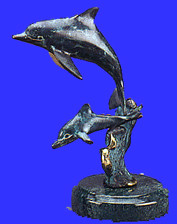 "SCULPTURE - MARBLE - 2 DOLPHINS ON ROUND BASE - 6"" H"