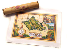 Giclee Antique Map OAHU Leather Map Tube 8x12 print