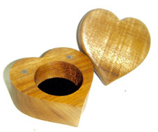 Heart Shaped Koa box with lift off Lid 2 1/2 x 2