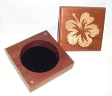 Koa Box with 2 tone wood Hibiscus design