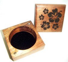 Koa Box with Hibiscus design