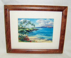 Hawaiin Curly Koa Framed ART - Beach at WAILEA Maui