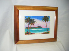 Hawaiin Curly Koa Framed ART - Diamond Head