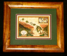 Hawaiin Curly Koa Framed ART 8 x 10 - Hawaiian Islands Map