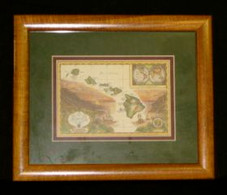 "Hawaiin Curly Koa 1"" Framed ART 8 x 10 - Hawaiian Islands Map"