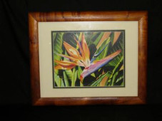 "Hawaiin Curly Koa Framed ART 13"" X 16"" - Bird Of Paradise by Gary Palm"