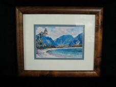 "Hawaiin Curly Koa Framed ART 8"" X 10"" - Hanalei"