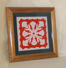 "Hawaiian Curly Koa Framed ART 8"" X 10"" - Hawaiian Quilt"
