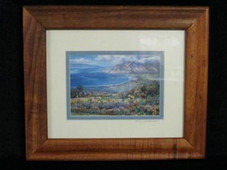 "Hawaiin Curly Koa Framed ART 8"" X 10"" - Kula of Maui in Bloom"