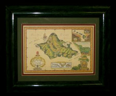 "Hawaiin Framed ART 13"" X 16"" - Oahu Historical Map"