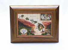 Hawaiian Koa Framed Antique Map of the Hawaiian Islands Giclee