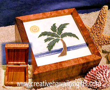 Hawaiian Tiled Koa Box - Tropical Palm