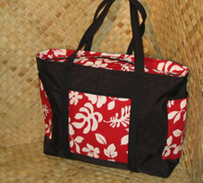 Hawaiian TOTE -Paradise Retro Bag- Red/White