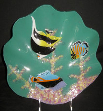 Hawaiian Fushion Glass Fish Scene Shell Plate - 12 inches