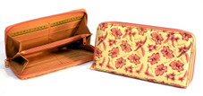 Hawaiian Leather zippered wallet with hibiscus, plumeria print
