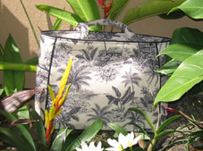 Tropical Toile Elegant Tote - Black