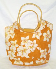 Hawaiian Plumeria printed burlap tote Orange