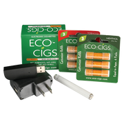 Starter Kit Eco-Cigs Eco-Cigs Tip Recharging Battery Eco-Cigs Tip Recharging USB Charger Eco-Cigs Wall Adapter 6 Cartridges - Thats a whole lot of lot of cartridges and each single one contains enough puffs equal to up to 2 packs of traditional cigarettes!