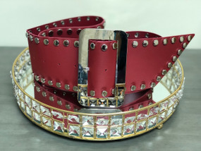 OZ Studded Belt Deep Red