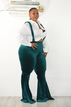 Plus Size Dinah Flare Trousers Green