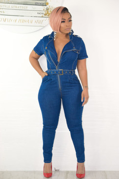 Pop a Collar Denim Jumpsuit