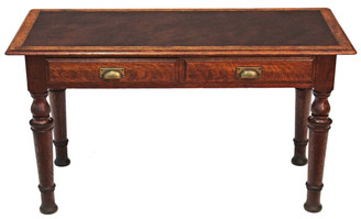 Antique Victorian Quality Gillows oak library writing table desk