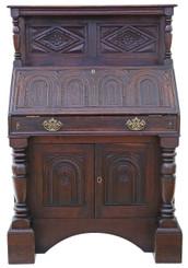 Antique Georgian and later carved oak bureau desk writing table bookcase