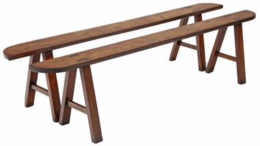 Antique pair Victorian 19C oak and elm dining hall benches seats ~ 7' long