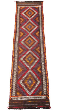 Antique Persian Kilim hand woven wool rug runner ~9' x 2'