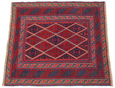 Antique small tribal Gazak hand woven wool rug red ~4' x 4'