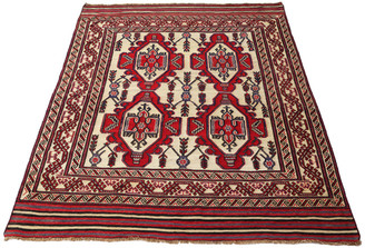 Antique large quality Persian Saghari hand woven wool rug cream red ~10'x7'