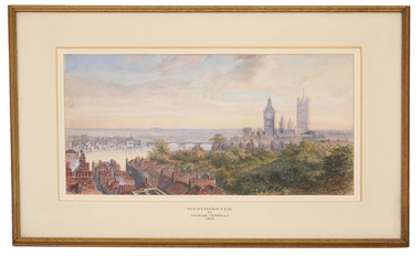 Antique 1866 Victorian watercolour painting Thomas Howells Westminster London