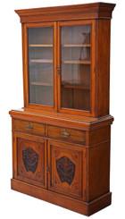 Antique large Victorian walnut glazed bookcase display cabinet cupboard