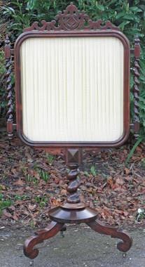 Antique Victorian rosewood silk glass fire screen