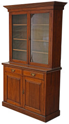 Antique large Victorian walnut glazed bookcase display cupboard cabinet