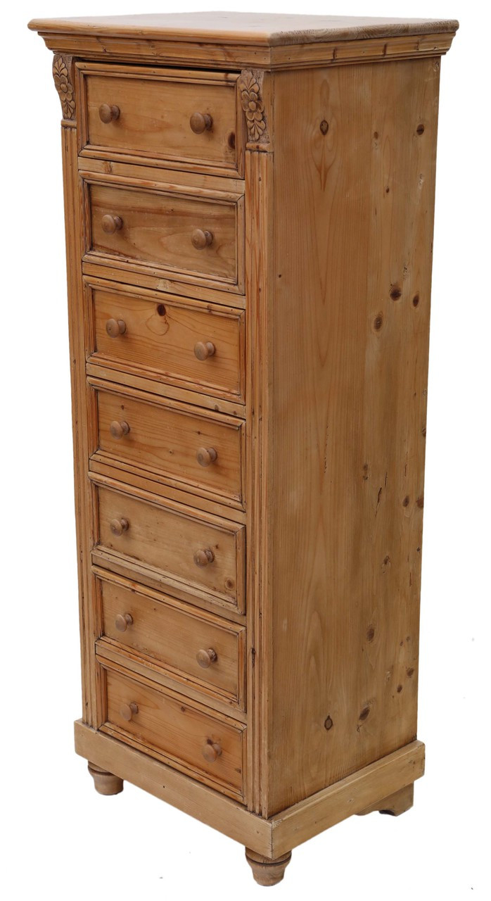 the latest 43e7b 2aecb Antique rustic pine tall narrow wellington chest of drawers ...