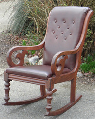 Antique Victorian mahogany leather rocking arm chair